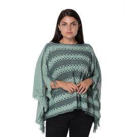 Stripe Pattern Knit Poncho with Simulated White Pearl and Tassel (Size 48x112x9 Cm) - Green and Dark