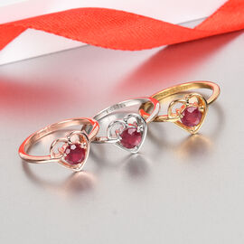 Personalise Classic Ruby Heart Shape Ring