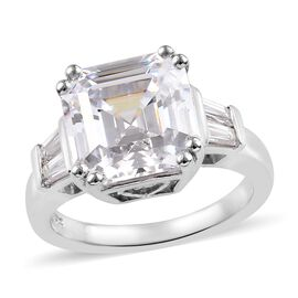 J Francis - Platinum Overlay Sterling Silver (Asscher Cut) Ring in Made with SWAROVSKI ZIRCONIA