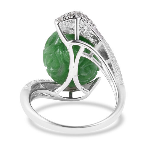 AAA Carved Green Jade, Natural Cambodian Zircon and Mozambique Garnet Fortune Ball Snake Ring in Rhodium Overlay Sterling Silver 22.13 Ct, Silver wt 5.13 Gms