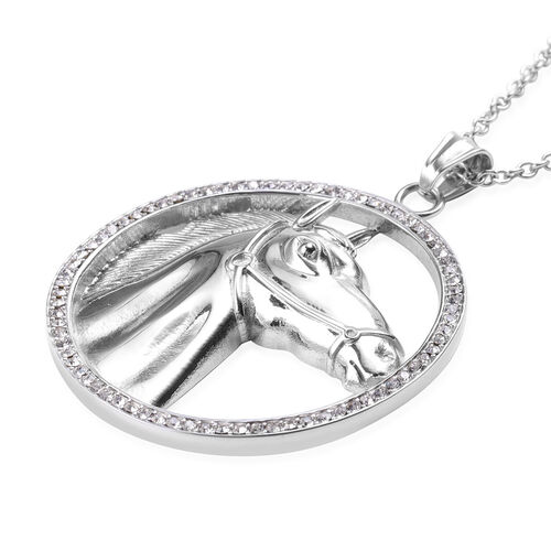 White Austrian Crystal Horse Pendant with Chain (Size 28) in Stainless Steel