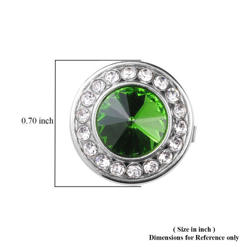 Simulated Diopside and White Austrian Crystal Cuff Button Cover in Silver Tone