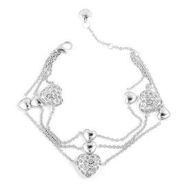WEBEX- Rachel Galley Rhodium Plated Sterling Silver Lattice Heart Bracelet (Size 8), Silver wt 15.74 Gms.