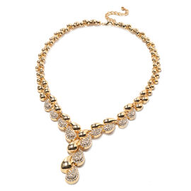 White Austrian Crystal Necklace (Size - 20.5 with 2 inch Extender) in Gold Tone