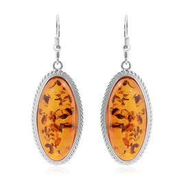LIVE from Tucson- Baltic Amber (Ovl) Lever Back Earrings in Sterling Silver, (Silver wt 9 Gms.)