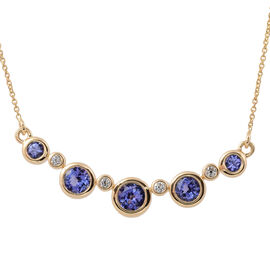 ILIANA 18K Yellow Gold AAA Tanzanite (Rnd), Diamond (SI/G-H) Necklace with Chain (Size 18 with 1 inc