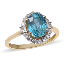 Ratanakiri Blue Zircon and Cambodian Zircon Halo Ring in 9K Gold