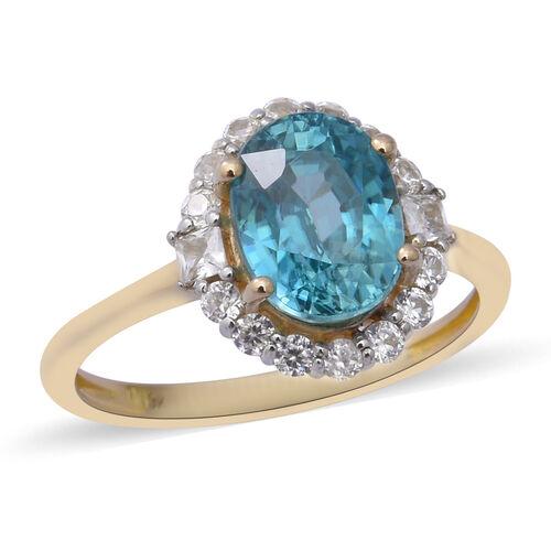 Ratanakiri Blue Zircon and Cambodian Zircon Halo Ring in 9K Gold