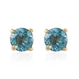 Paraibe Apatite (Rnd) Stud Earrings (with Push Back) in 14K Gold Overlay Sterling Silver 1.000 Ct.