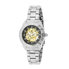 Empress Godiva Automatic Movement Black Dial 10 ATM Water Resistant Ladies Watch in Stainless Steel