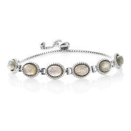 One Time Deal- Labradorite (Ovl) Adjustable Bracelet (Size 6.5 - 9) in Stainless Steel 9.000 Ct.