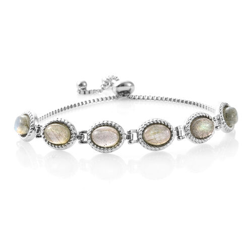 One Time Deal- Labradorite (Ovl) Adjustable Bracelet (Size 6.5 - 9) in Stainless Steel 9.000 Ct.