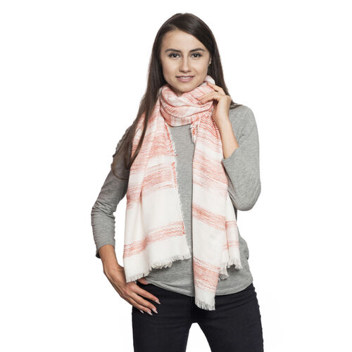 Red and Orange Colour Bloom Ikat Pattern White Colour Jacquard Scarf (Size 180x70 Cm)