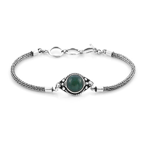 Royal Bali Collection - Australian Chrysoprase Tulang Naga Bracelet (Size 8 with Extender) in Sterli