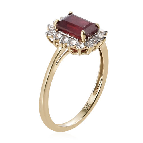 WEBEX- 9K Yellow Gold African Ruby (Oct 7x5mm), Natural Cambodian Zircon Halo Ring 1.850  Ct.