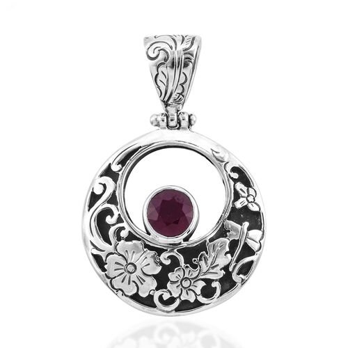 Royal Bali 2.84 Ct African Ruby Circle Pendant in Sterling Silver 7.6 Grams