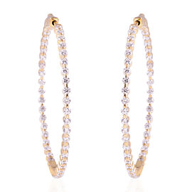 ELANZA Simulated Diamond (Rnd) Hoop Earrings (with Clasp) in 14K Gold Overlay Sterling Silver, Silver wt 6.50 Gms.