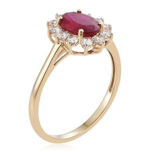 9K Yellow Gold AAA African Ruby (Ovl 9x7mm, 2.50 Ct), Natural Cambodian Zircon Ring 3.250 Ct.