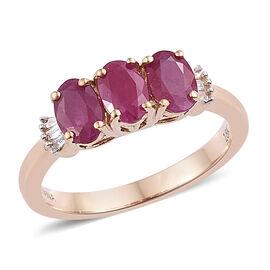 ILIANA 18K Yellow Gold AAA Burmese Ruby (Ovl 6x4 mm), Diamond (SI/ G-H) Ring 1.500 Ct.