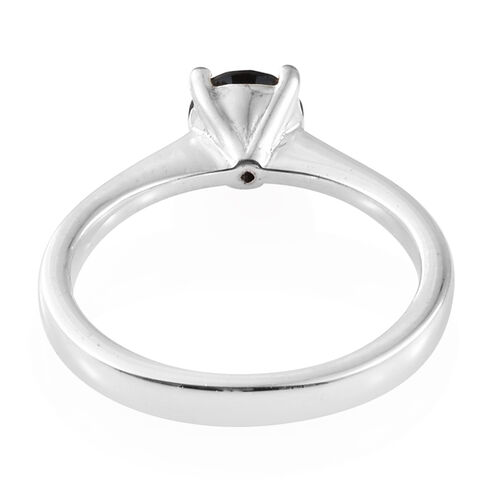 ROSE CUT Black Diamond (Rnd) Solitaire Ring in Platinum Overlay Sterling Silver 1.000  Ct.