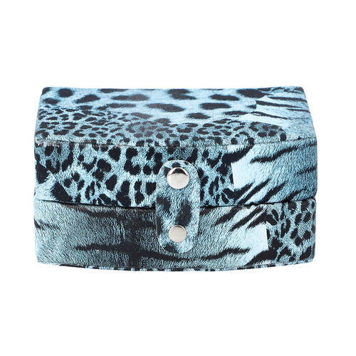 Blue Leopard Pattern Jewellery Box with Button Clasp Lock (12x9x6.1cm)