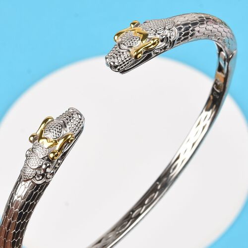 Snake Head Magnetic Cuff Bangle (Size 7.5) in Platinum and Yellow Gold Tone