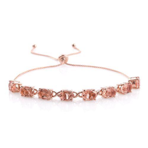 Galileia Blush Pink Quartz (Ovl) Adjustable Bracelet (Size 6.5 to 9.5) in Rose Gold Overlay Sterling Silver 7.500 Ct.