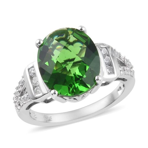 4.15 Ct Helenite and Zircon Solitaire Ring in Platinum Plated Sterling Silver