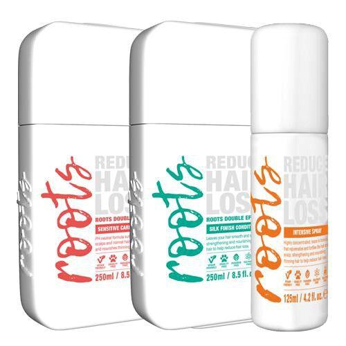 Roots: Sensitive Scalp Shampoo - 250ml, Silky Finish Conditioner - 250ml & Intensive Treatment Spray - 125ml
