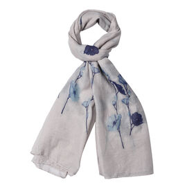 Light Grey Colour Flower Pattern Scarf (Size 180x70 Cm)