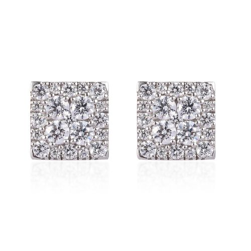 J Francis - Platinum Overlay Sterling Silver Stud Earrings Made with SWAROVSKI ZIRCONIA 2.46 Ct.