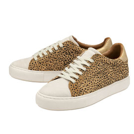 Ravel Leopard Print Lace Up Trainer   - White and Brown