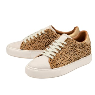 Ravel Leopard Print Lace Up Trainer in White and Brown