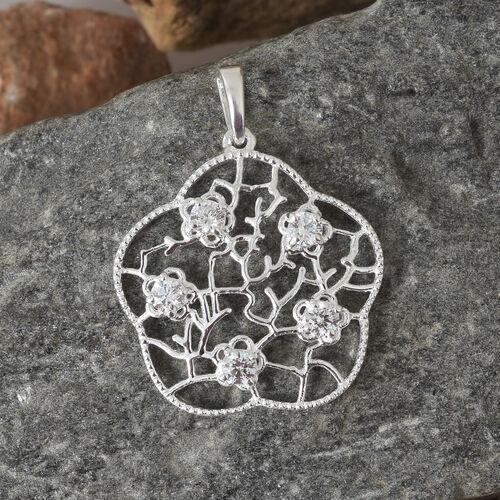 J Francis - Sterling Silver (Rnd) Floral Pendant Made with SWAROVSKI ZIRCONIA