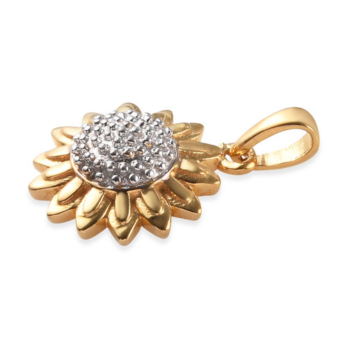 Platinum and Yellow Gold Overlay Sterling Silver Sunflower Pendant