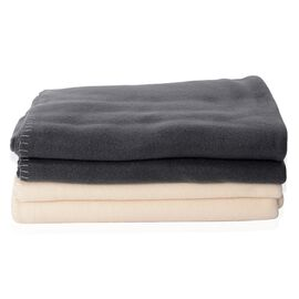 Set of 2 - Dark Grey and Cream Colour Fleece Solid Blanket (Size 170x130 Cm)
