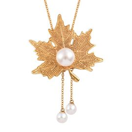 Freshwater Pearl Maple Leaf Necklace (Size 18) in Yellow Gold Plated
