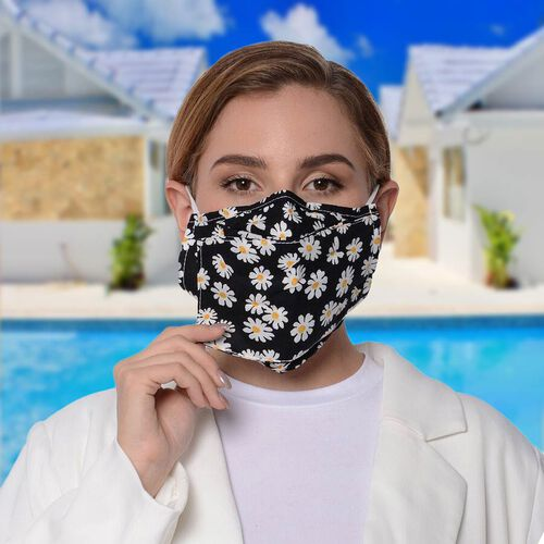 Daisy Pattern Double Layer Open Mouth Reusable Face Covering with Adjustable Ear Loop (Size 22x18 Cm) - Black & White
