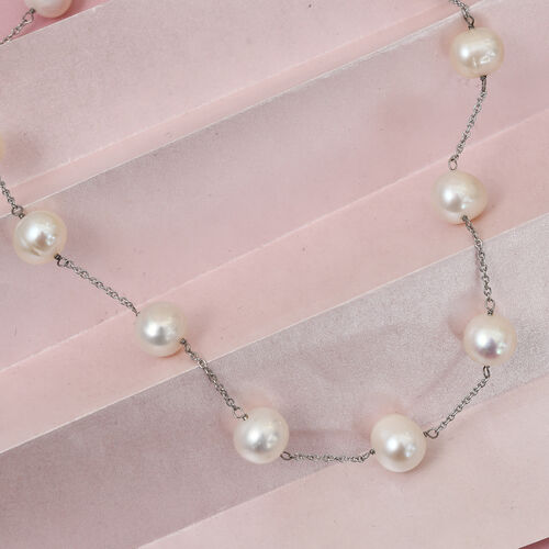 Freshwater Pearl Station Necklace (Size 18) in  Platinum Overlay Sterling Silver