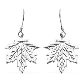 Platinum Overlay Sterling Silver Maple Leaf Hook Earrings, Silver wt 6.00 Gms