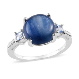 Moon Kyanite (Rnd 10 mm), Signity Sum Blue Topaz Ring in Sterling Silver 4.00 Ct.