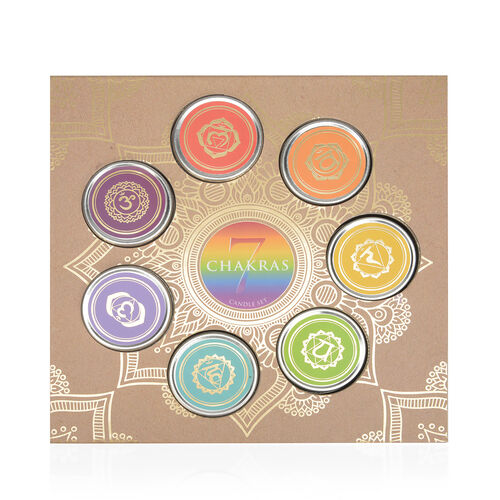 7 Piece Set- Home Decor Seven Chakra Fragranced Soy Candle Tins (Root, Sacral, Navel, Heart, Throat, Brow and Crown Chakra) (Size 26.5x4.8 Cm) - 140-175hrs Burn Time