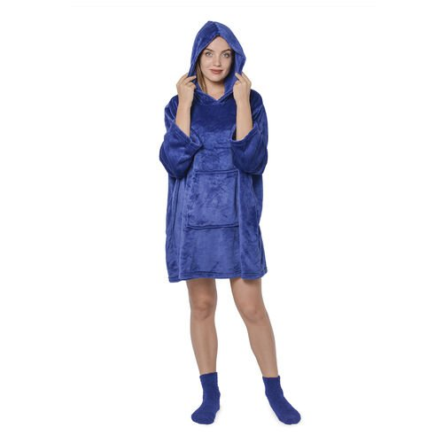 2 Piece Set - Hooded Robe with Pockets and Socks - Blue