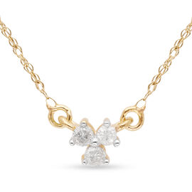 9K Yellow Gold SGL Certified Diamond (Rnd) (I3/G-H) Necklace (Size 18) 0.10 Ct.