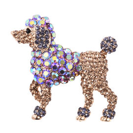 Multicolour Austrian Crystal Dog Brooch or Pendant in Gold Tone