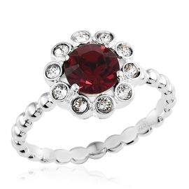 J Francis Crystal from Swarovski - Ruby Colour Crystal (Rnd), White Crystal Ring in Sterling Silver