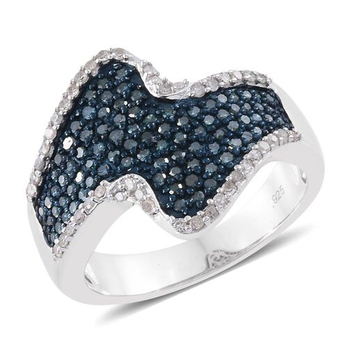 1 Ct Designer Inspired Blue and White Diamond Cluster Ring in Platinum Plated Silver 6.5 Grams