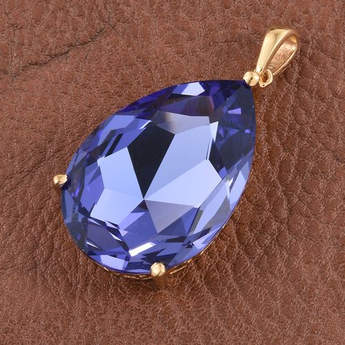 J Francis Crystal from Swarovski - Tanzanite Colour Crystal (Pear) Pendant in 14K Gold Overlay Sterling Silver