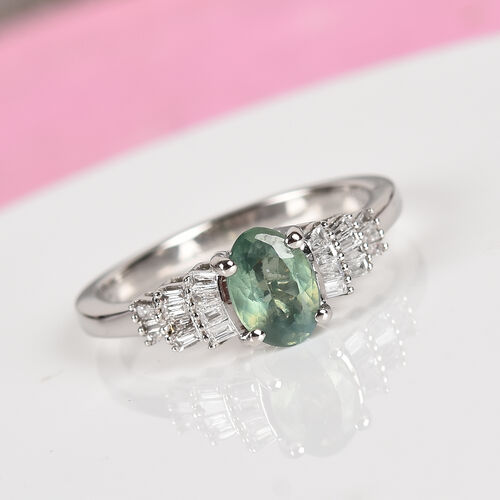 RHAPSODY 950 Platinum AAAA Narsipatnam Alexandrite and Diamond (VS/E-F) Ring 1.00 Ct.