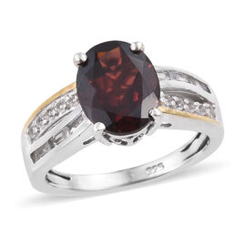 Mozambique Garnet (Ovl), White Topaz Ring in Yellow Gold and Platinum Overlay Sterling Silver 3.250 Ct.